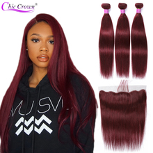 99J Bundles With Frontal Pre Colored Red Bundles Brazilian Human Hair Bungundy Bundles With Frontal Cheveux Humain Chic Crown