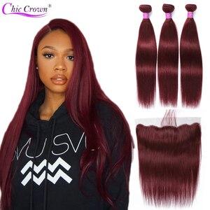 Image 1 - Mèches brésiliennes avec Frontal, Cheveux naturels pré colorés, avec Frontal, couronne Chic humaine 99J
