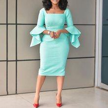 цены на Women Sexy Bodycon Party Dress Elegant Flare Sleeve 2019 Fashion African Dress Office Ladies Vintage Casual Autumn Midi Dresses  в интернет-магазинах