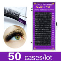 NAGARAKU 50cases bulk Faux mink eyelash extension False eyelashes individual eyelashes premium