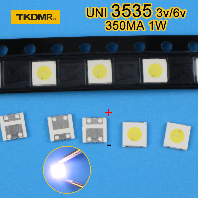 120pcs <font><b>1W</b></font> <font><b>3V</b></font> <font><b>3535</b></font> TV Backlight LED SMD Diodes Cool White LCD TV Backlight Televisao TV Backlit Diod Lamp Repair Application image