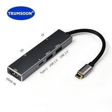 TRUMSOON type C USB C к HDMI 4K type C концентратор SD TF кард-ридер USB 3,0 2,0 адаптер комбо для Macbook samsung S8 Note9 huawei P20