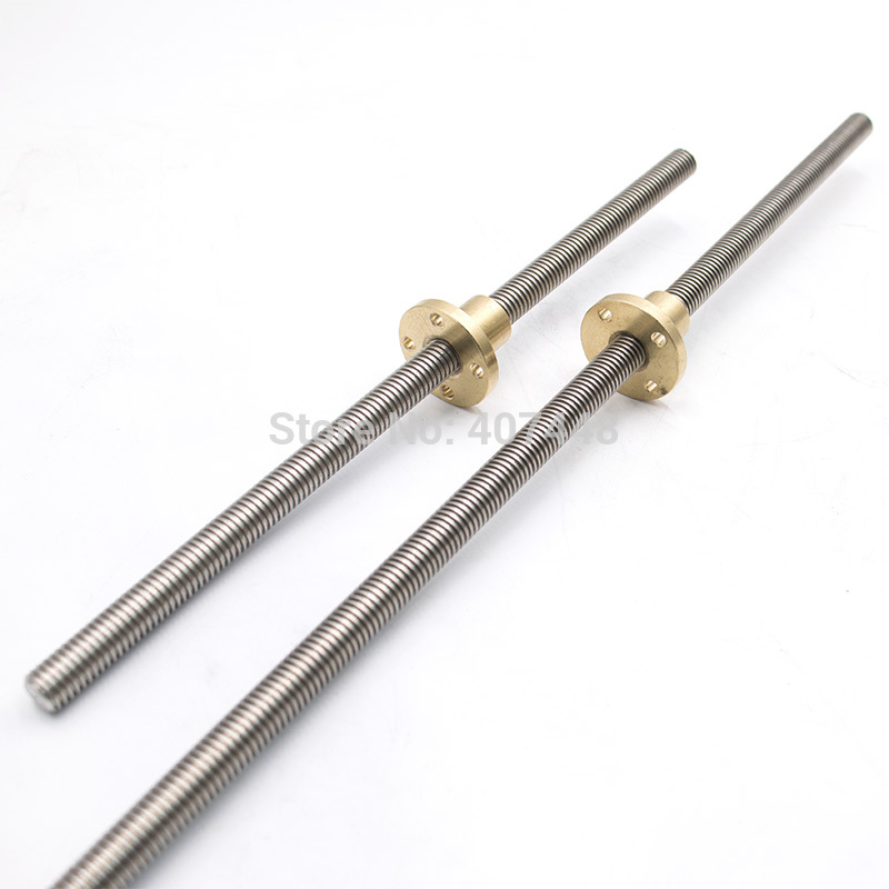 3D Printer T8 100mm 200mm 300mm 400mm 500mm 600mm Z Axis Lead Screw 8mm Screw Pitch 1/2/4/8 With Brass Nut