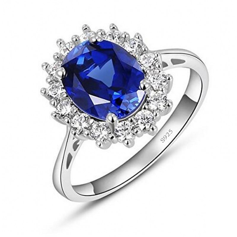 Princess Diana William Kate Gemstone Rings Sapphire Blue Wedding Engagement 925 Silver Crystal Finger Ring For Women
