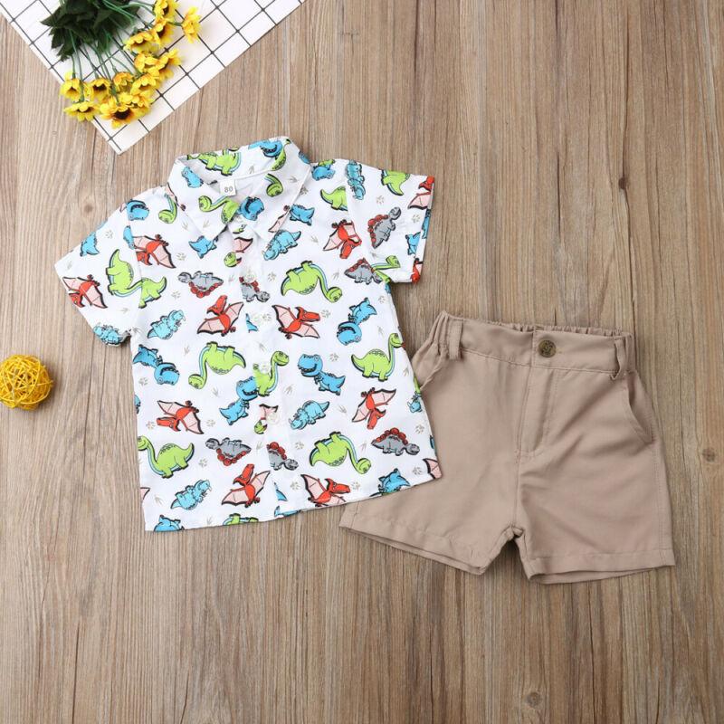 Toddler Baby Boy Summer Clothes Dinosaur Tops T-Shirt+Shorts Pants Casual Outfit