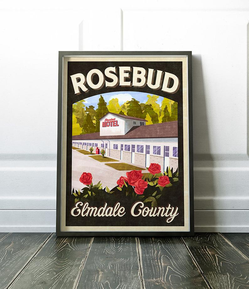 Rosebud Motel Elmdale County Retro Vintage Travel Poster Inspired by Schitt's Creek