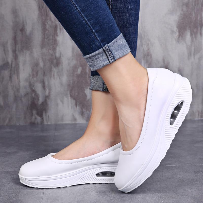 Women's Vulcanized Shoes Flat Platform Shoes Casual Comfort Shallow Shoes Fashion Shake Fabric Nursing Shoes for Women Sneakers