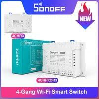 Sonoff 4CH R3/ 4CH PRO R3 4 Gang Wi-Fi Smart Switch Modul Voice Control Verriegelung Tipp Control über eWeLink APP Unterstützung Alexa