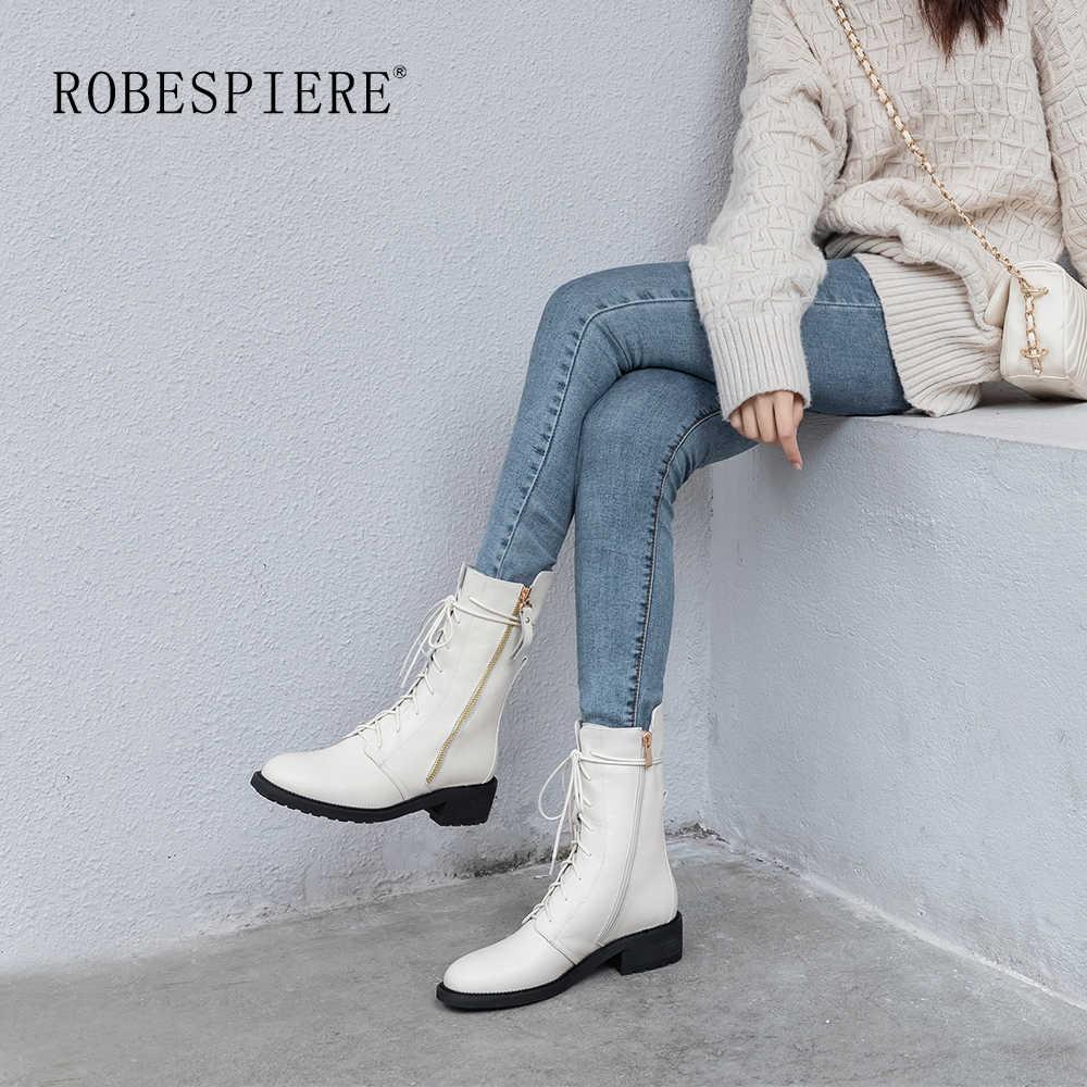 ROBESPIERE אמיתי עור חורף מגפי אישה חם קטיפה פלטפורמת אמצע עגל מגפי תחרה עד מקרית בעבודת יד גדול גודל נעלי B36
