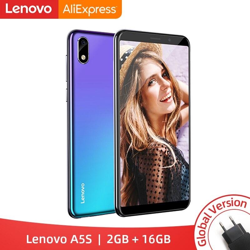 Núcleo global do quadrilátero de lenovo a5s a5 s mtk6761 5.45 polegadas smartphone 2 gb 16 gb rom android p face id 4g celular