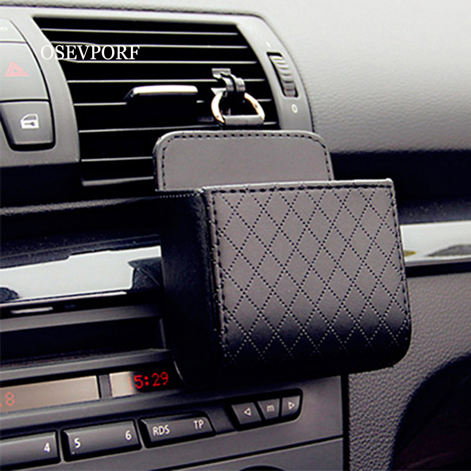 Universal Car Air Vent Organizer Box Storage Bag With Hook Auto Mount Outlet PU Leather Container Pocket Phone Holder Accessory