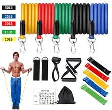 16 pçs bandas de resistência conjunto expansor yoga exercício de fitness tubos de borracha banda estiramento treinamento em casa ginásios treino elástico puxar corda