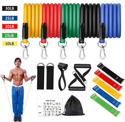 16Pcs Resistance Bands Set Expander Yoga Exercise Fitness Rubber Tubes Band Stretch Training Home Gyms Workout Elastic Pull Rope