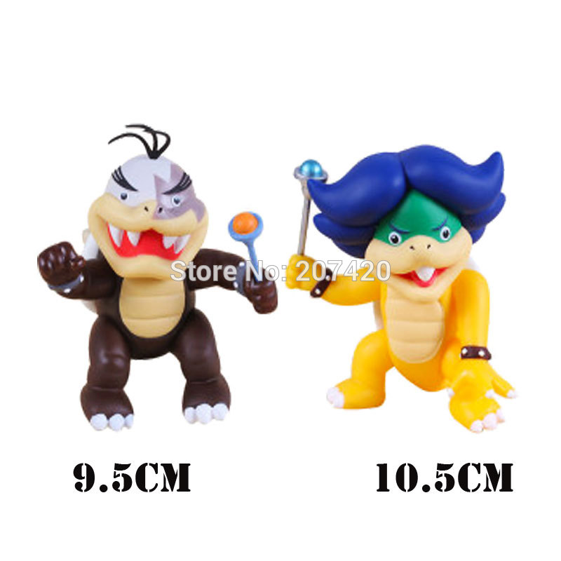10cm Collection Game Mario Koopalings Bowser Morton And Ludwig Blue Turtle Action Figure Toys,2pcs/set