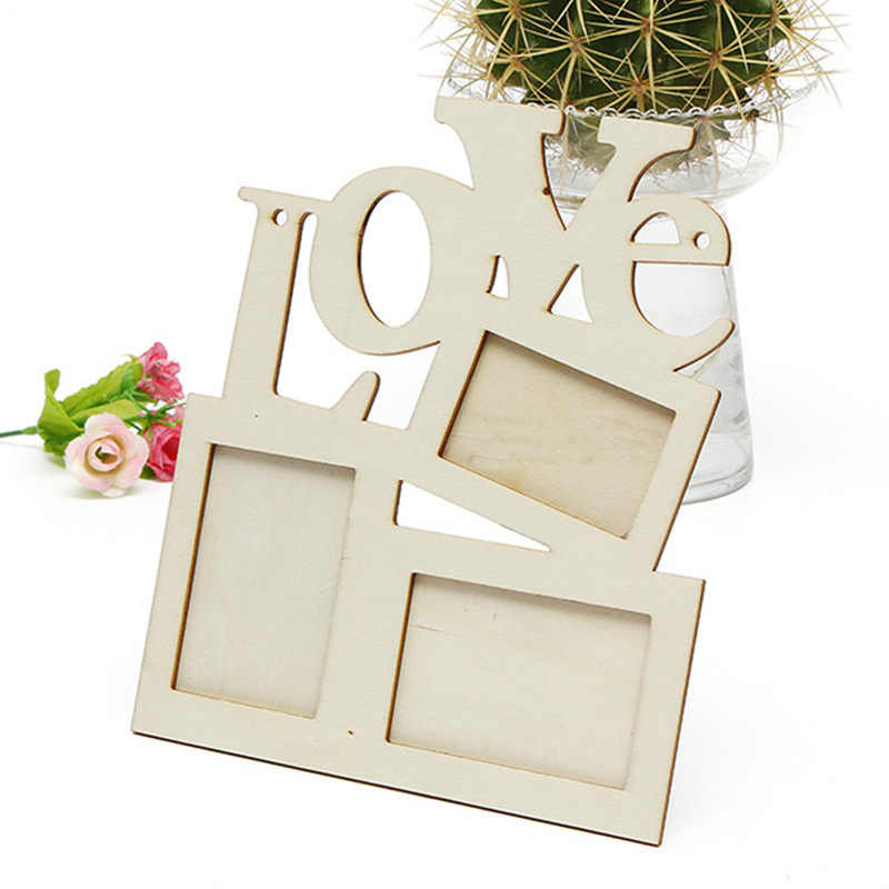 1PC New Hollow Love Tri-ply Wood Blank Frame DIY Painting Picture Photo Frame Home Art Decor