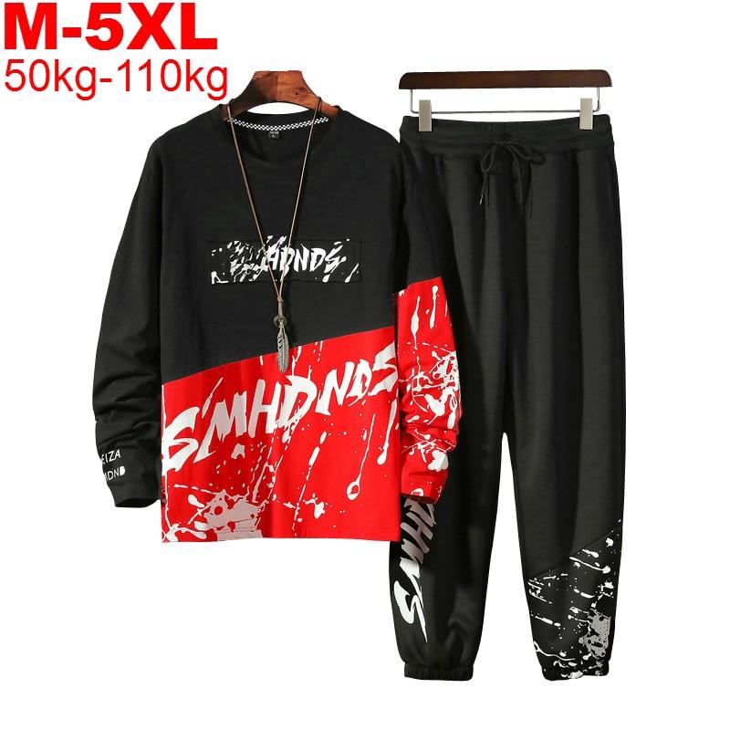 Tracksuit Men Two Pieces Set Fashion Mens Sportswear Hip Hop Sweatshirt Hoodie Pants Male Sweatsuit Men Clothes Plus Size 5XL
