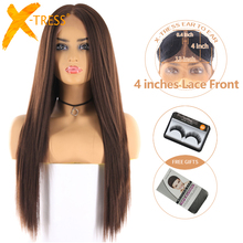 Medium Brown Color Synthetic Hair Wigs For Women X-TRESS Long Yaki Straight Lace