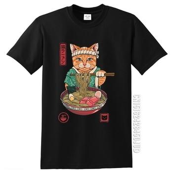 Neko Ramen-Camiseta de Anime de gato japonés para Hombre, camiseta Vintage de...