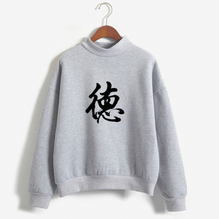 New Fall Fashion Hoodies Women Sweatshirt Chinese Style Character Print Hoodie Hooded Fleece Clothes Teens Funny Sweatshirt