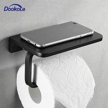Bathroom Toilet Paper Holder with Mobile Phone Storage Shelf, Tissue Holder Paper Roll Dispenser Wall Mounted Black/Brushed