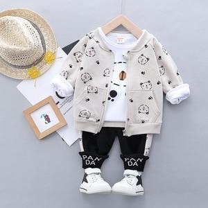 Image 4 - Kid Baby Boy Casual Clothing Set Cartoon Bear Zipper Coat Clothes Shirt Clothing Sets 3PCS Toddler Baby Set Boys  1 2 3 4 Years