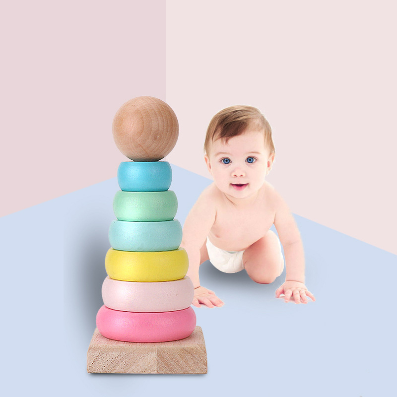 Warmom Baby Toys Macarons Blocks Infant Wood Stack Tower Jenga Toy Baby Early Educational Dvelopment Toy Game For Child Gifts