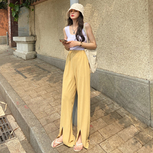 Leg-Pants Split-Trousers Plus-Size Elastic Loose Two-Wear Female Wide Korean Summer Casual