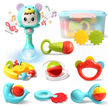 Baby Rattles Teether Toys Set, Electronic Rattle Shaker with Light and Music, Grab and Spin Rattles, Musical Rattle Toy Set wit
