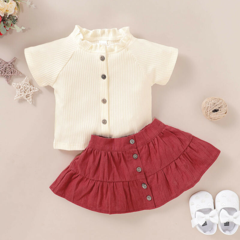Pudcoco USPS Fast Shipping 0-5 Years Toddler Baby Girl Summer Fashion Short Sleeve Knitted Cotton Top Red Shikt Girl Clothes Set