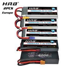 2 packs HRB 2S 3S 4S 6S Lipo Battery 11.1v 22.2v 3300mah 5000mah 6000mah 4000mah 7000mah for RC Car truck helicopter Drone Boat