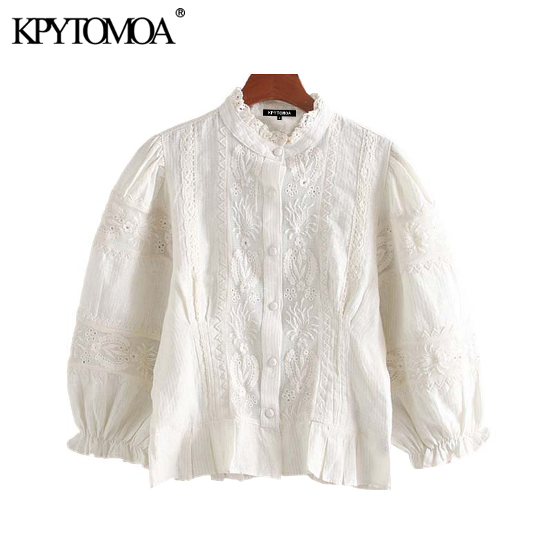 Vintage Sweet Hollow Out Embroidery Blouses Women 2020 Fashion Ruffled Collar Three Quarter Sleeve Female Shirts Blusa Chic Tops