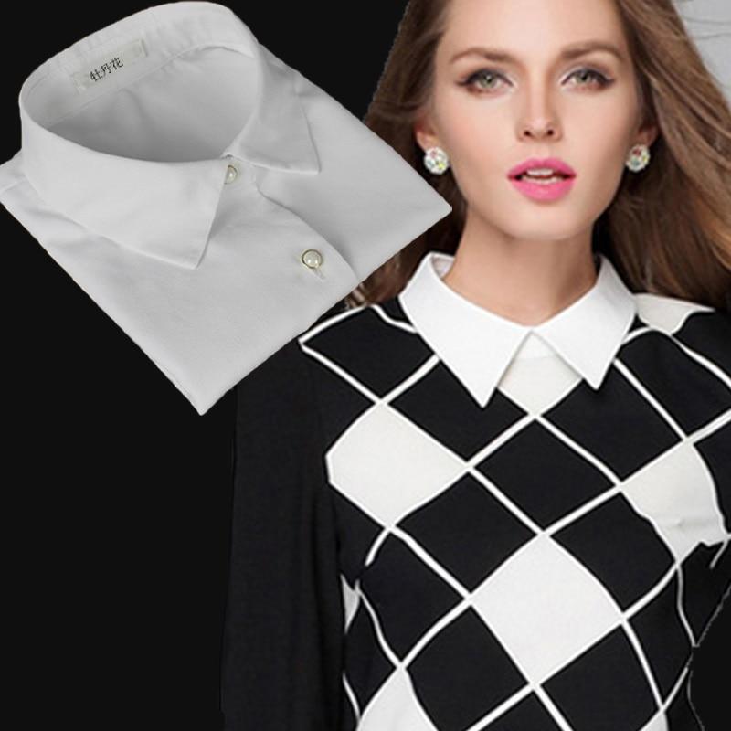 Mulher preta gola destacável laço lapela falso col laço branco gola falsa meia camisa das senhoras falso colar para as mulheres