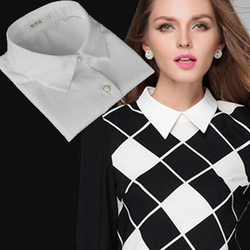 White Fake Collar Shirt Half Shirt Ladies Fake False Collar For Women Black Woman Detachable Collar Lace Lapel Faux Col Tie