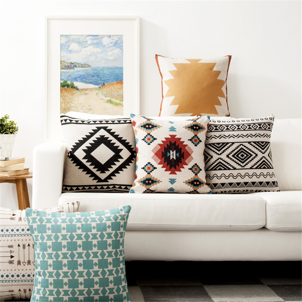 Decorative throw pillow cover case cotton linen geometric cotton linen geometric cushion cover for sofa home decor almofadas
