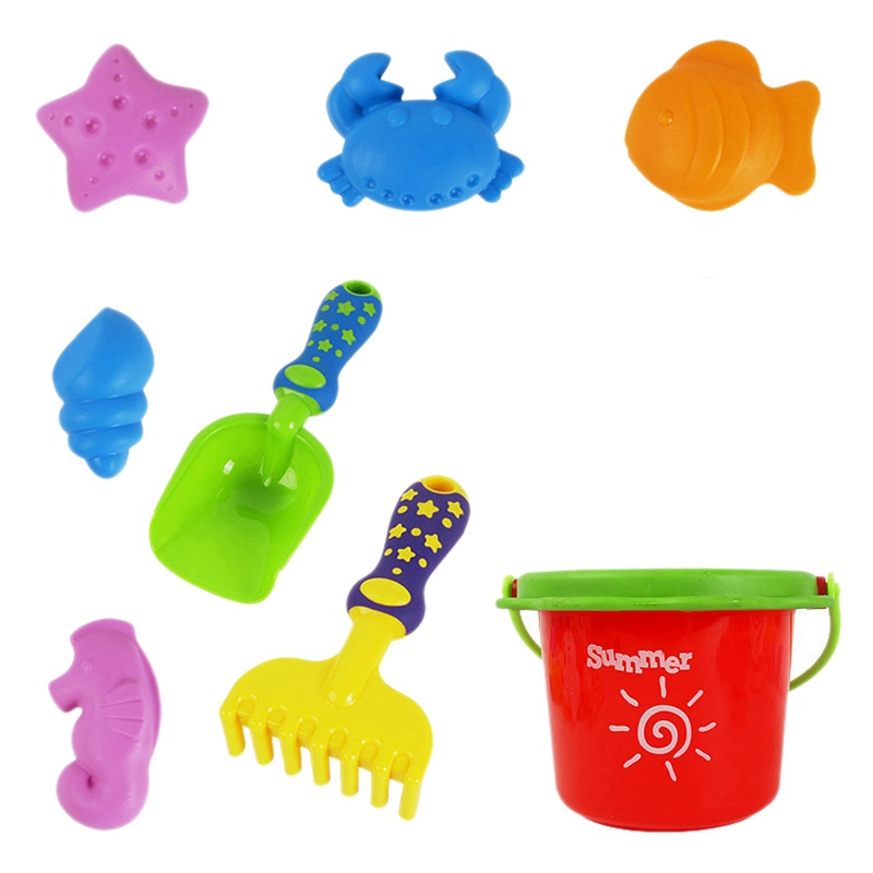 Beach Toy Bucket Baby Bath Toy Children's Beach Toy 8 Piece Set