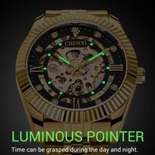 CHENXI zegarek męski szkielet automatyczny zegarek mechaniczny złoty szkieletowy zegarek męski w stylu Vintage zegarek męski Top marka Luxury tanie tanio 3Bar Biznes Mechaniczna Ręka Wiatr Automatyczne self-wiatr Składane zapięcie z bezpieczeństwem 22 5cm Stop 15mm Odporny na wstrząsy