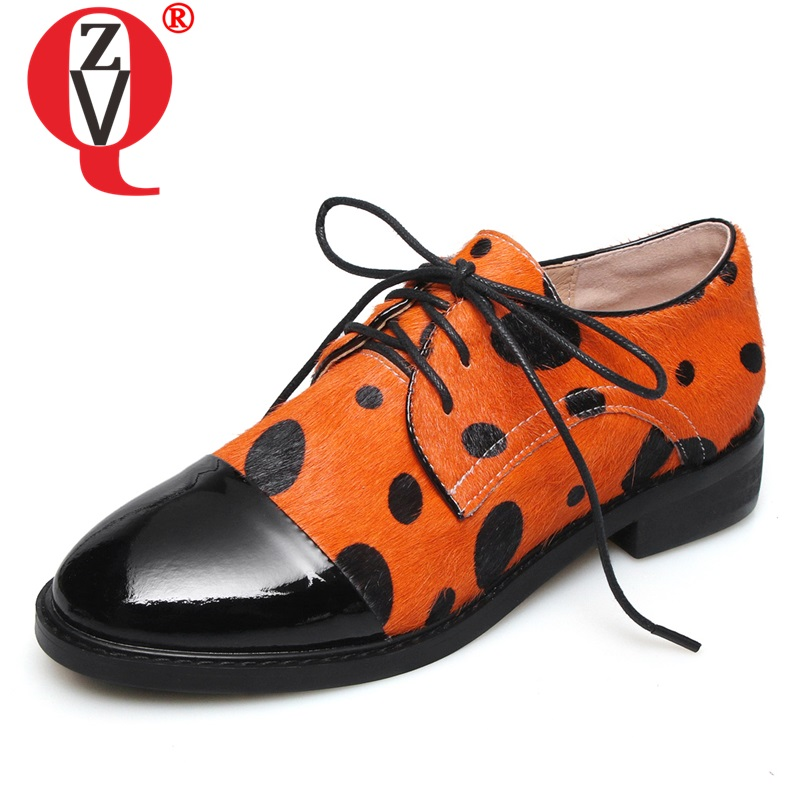 ZVQ cheveux de cheval cuir femmes chaussures plates derby chaussures printemps femme brocken chaussures à pois motif mocassins chaussures bateau
