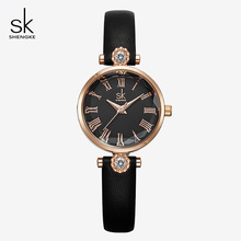 Shengke Brand New Womens Quartz Watches Fashion Casual Rhinestone Quartz Wristwatches for Woman Ladies Leather Bracelet Relojes