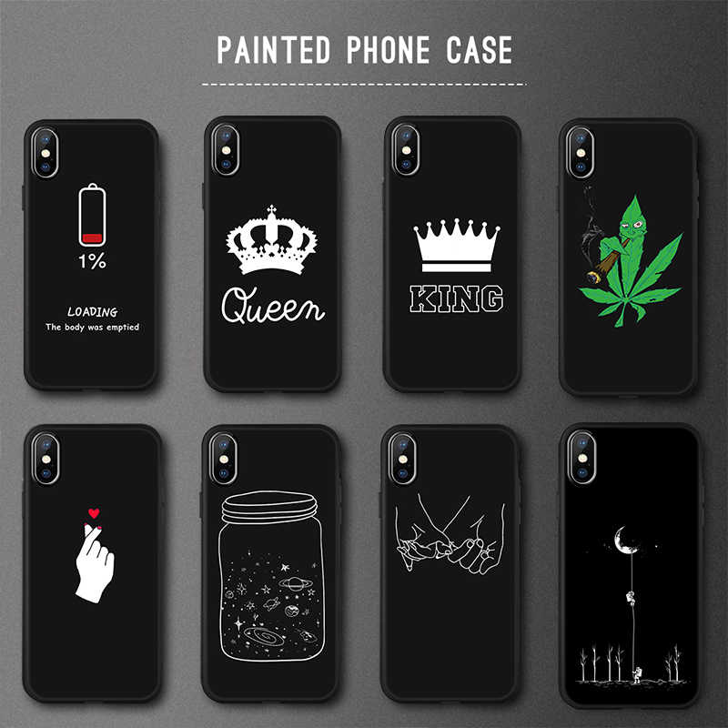 أسود بولي Painted رسمت حقيبة لهاتف أي فون 8 7 6 6S زائد X XS ماكس X 5 5s SE حافظة فوندا iPhone8 iPhone7 زائد سيليكون لينة