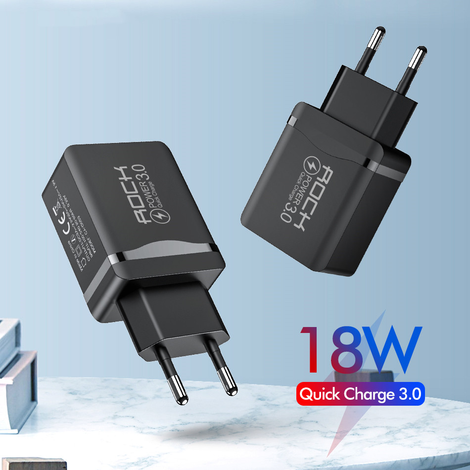 18W QC 3.0 USB Charger Quick Phone Fast Charger Travel Wall Adapter QC3.0 FCP Universal For Xiaomi IPhone Samsung Huawei EU Plug