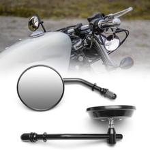"8mm Black/Chrome Motorcycle Mirror Short Stem 3""Round Rearview Mirror For Harley Dyna Bobber Chopper Old School 1982 2018 Up"