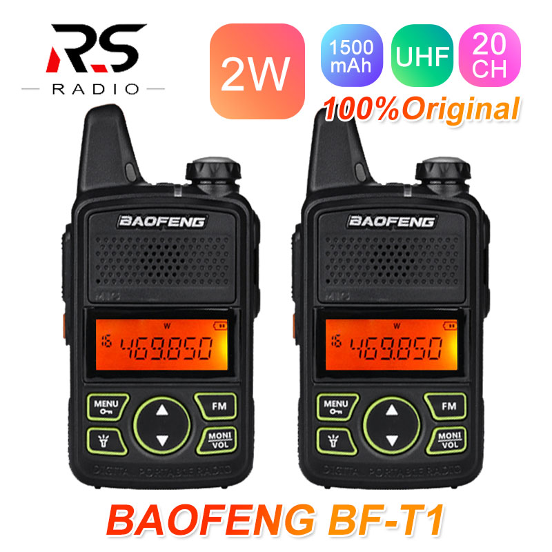 2PCS BAOFENG BF-T1 Mini Walkie Talkie Kids Radio Station UHF HF Transceiver Ham Radio Amateur Transmitter Woki Toki USB BF T1