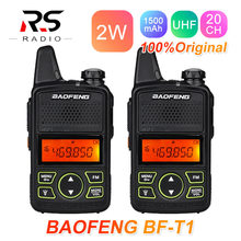 2 Stuks Baofeng BF-T1 Mini Walkie Talkie Kids Radio Station Uhf Hf Transceiver Ham Radio Amateur Zender Woki Toki Usb bf T1(China)