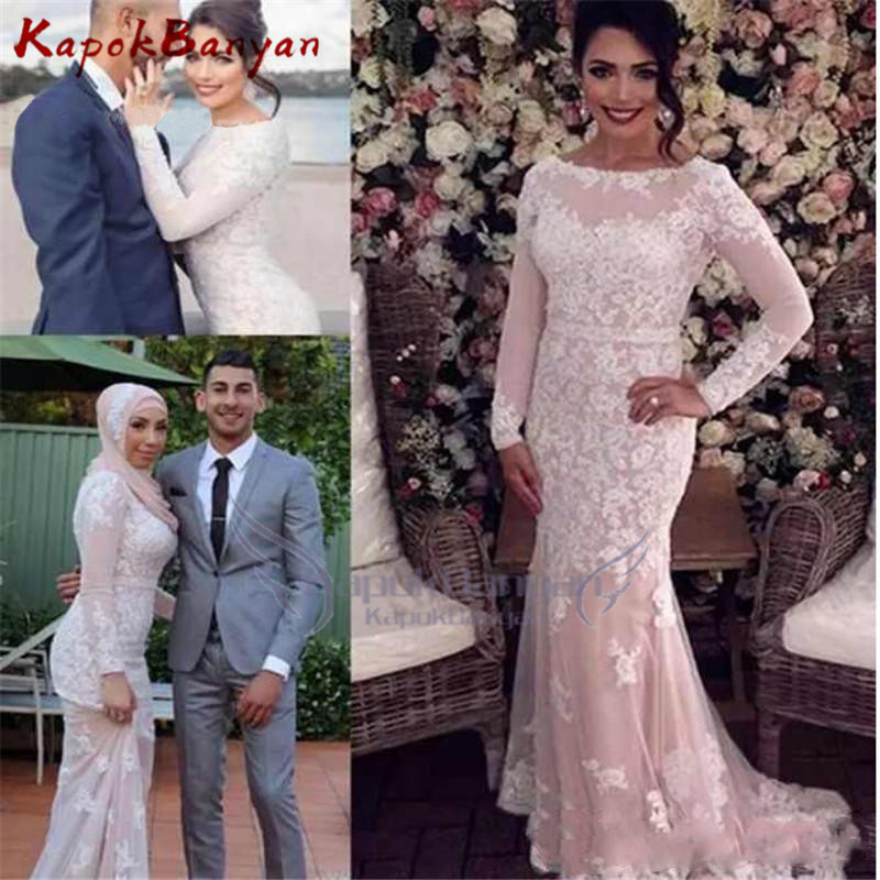 Lace Mermaid   Prom     Dresses   Long Sleeve With Appliques Special Occasion   Dresses   Evening Gowns For Formal Wear