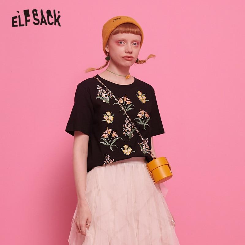 ELFSACK Black Floral Print Embroidery Casual T Shirt Women Top 2019 Summer Streetwear Short Sleeve Female Tee