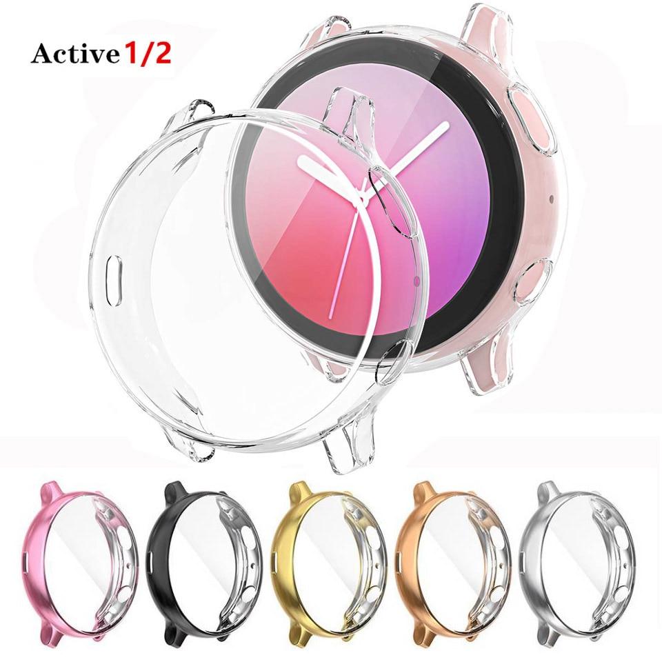 Funda para Samsung galaxy watch active 2 active 1, accesorios para parachoques, Protector de pantalla de silicona de cobertura completa