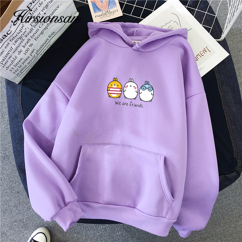 Hirsionsan Harajuku Sweatshirt Women Sisters Letter Print Long Sleeve Female Pullover Aesthetic Hoodie Oversize Kawaii Warm Coat