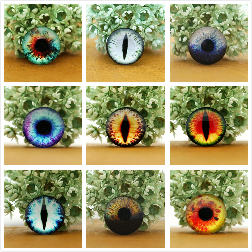 10PCS/lot Round 8-25mm Glass Dragon Cat Eyes Cabochon Charms Accessory Glass Cabochon Multi Color Horse Eyes Cat Pattern Crafts