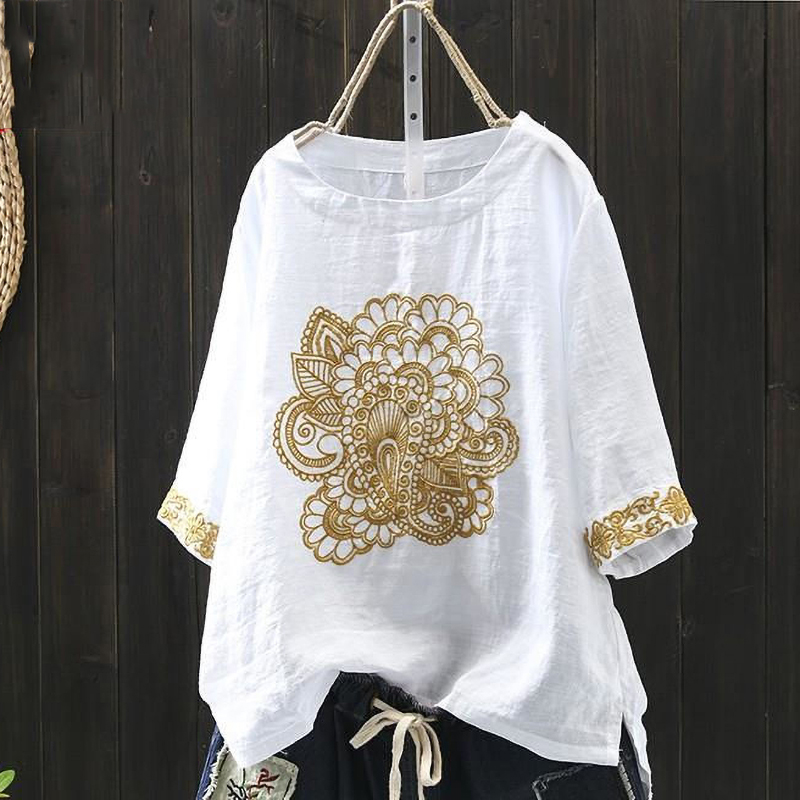 Plus Size Women Clothing White Blouse Summer 100% Cotton Embroidery High Quality Loose Short Sleeve Linen Ladies Tops Casual