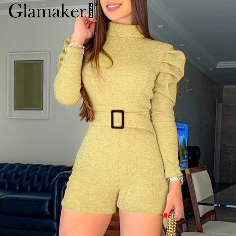 Glamaker Lurex Yellow Bodycon Short Jumpsuit O Neck Long Puff Sleeve Belt Elegant Women Jumpsuit Autumn Winter Sexy Jumpsuit